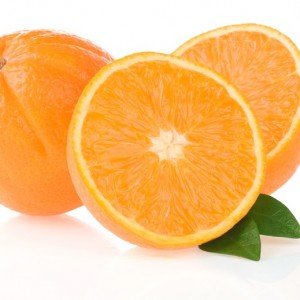 orange fruit and slices isolated on white background