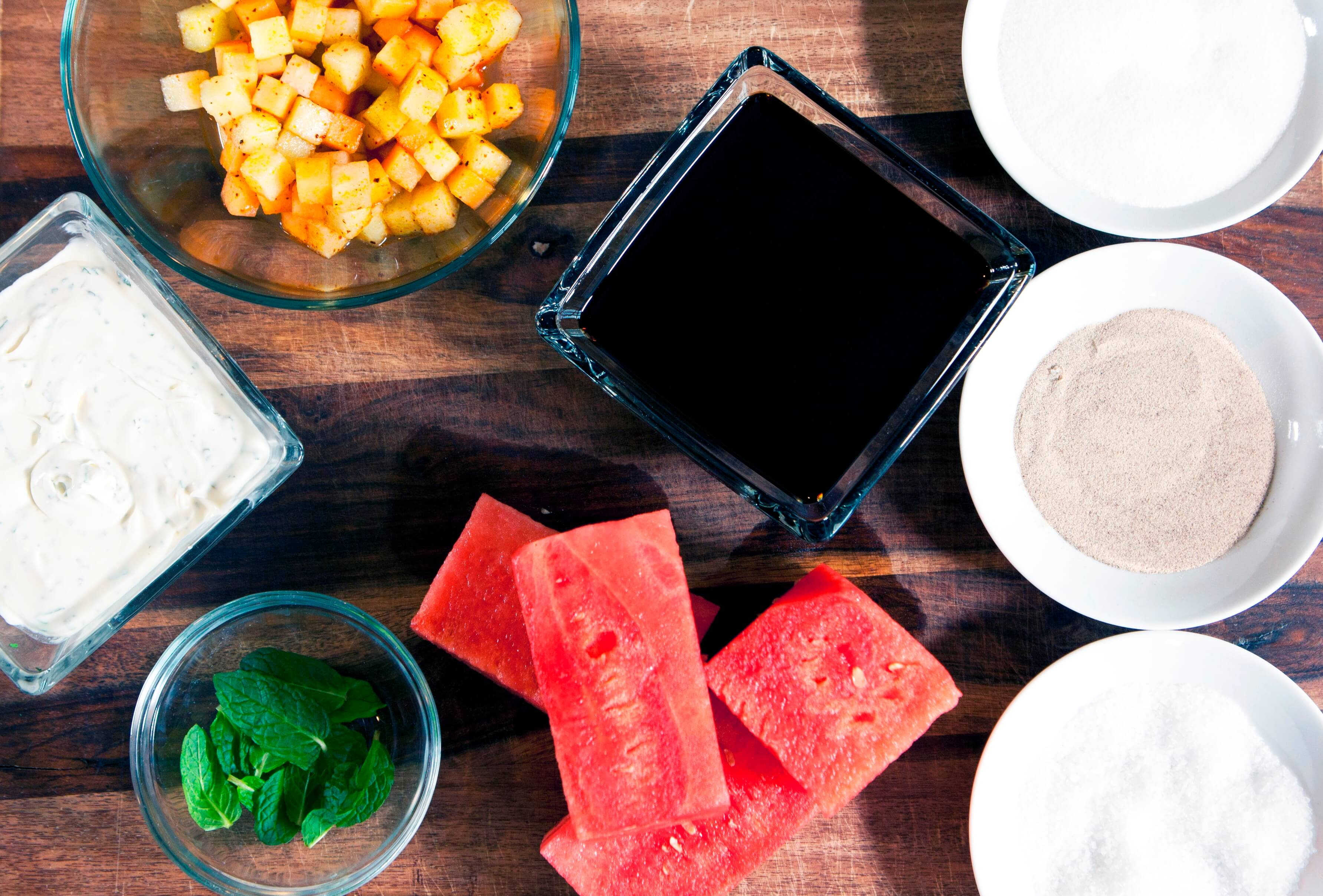 The key to this dish is choosing a perfectly ripe watermelon: not too firm but not too watery.