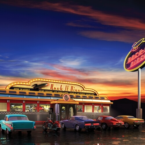 Diners offer classic American fare.