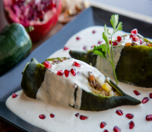 Stuffed Peppers With Goat Cheese Walnut Sauce